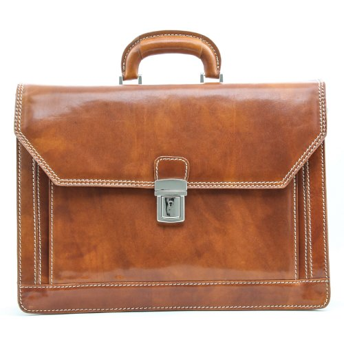 Alberto Bellucci Mens Italian Leather Capri Triple Compartment Laptop Briefcase in Honey by Alberto Bellucci