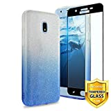 TJS Galaxy J7 2018/J7 Refine/J7 Star/J7 Eon/J7 TOP/J7 Aero/J7 Crown/J7 Aura/J7 V 2nd Gen Case, with [Full Coverage Tempered Glass Screen Protector] Two Tone Glitter TPU Paper PC Shinny Case (Blue)