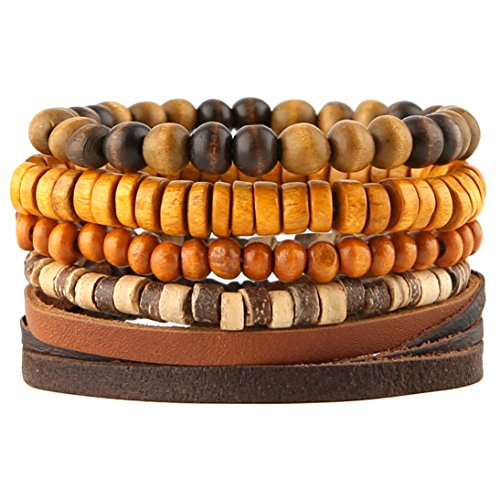 HZMAN Mix 4 Wrap Bracelets Men Women, Hemp Cords Wood Beads Ethnic Tribal Bracelets, Leather Wristbands (SZ805034)