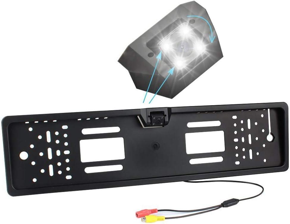 LAYDRAN Cámara de marcha atrás ,Placa universal europea, con cámara trasera integrada de 150° de visión. Cámara impermeable y resistente al polvo con para mejorar la visión nocturna cámaras traseras