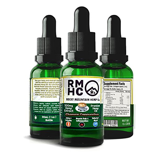 Rocky Mountain Hemp Co : Premium Full Spectrum Hemp Oil for Pain Relief : Sleep Aid :: Supports Stress, Anti Anxiety: Herbal Health Supplement Drops : Rich in Omega 3 6 9 (Cappuccino, 500) (Rocky Mountain Hemp Co Premium Organic Hemp Oil)