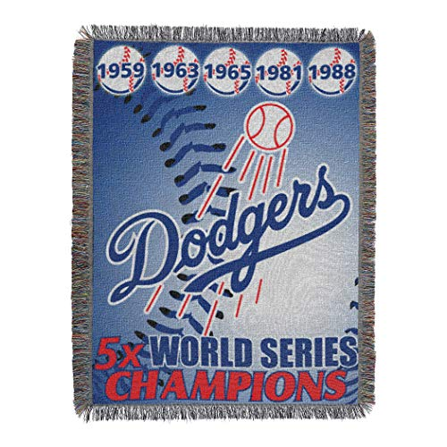 (Officially Licensed MLB Los Angeles Dodgers Commemorative Woven Tapestry Throw Blanket, 48