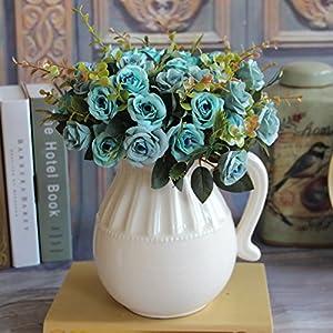 MingXiao Hot Hi Q European Blue Artificial Rose Silk Flowers Bouquet Wedding Decal 12