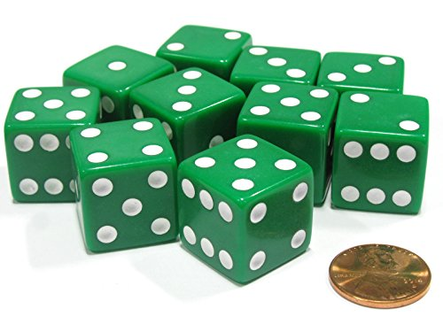 Price comparison product image Set of 10 Large Six Sided Square Opaque 19mm D6 Dice - Green with White Pip Die