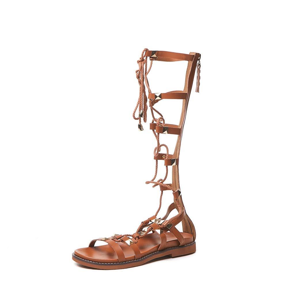 Brown Nine Seven Suede Leather Women's Round Toe Flat Heel Retro Handmade Body Strap Zip Fashion Women Gladiator Sandals