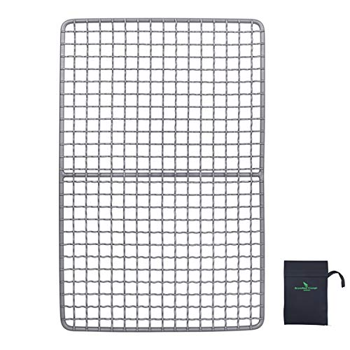 iBasingo Titanium Charcoal BBQ Grill Plate Ultralight Baking Cooling Rack Heavy Duty Dining Cooking Roasting Kitchen Utensils for Outdoor Camping Hiking Ti15108I from iBasingo