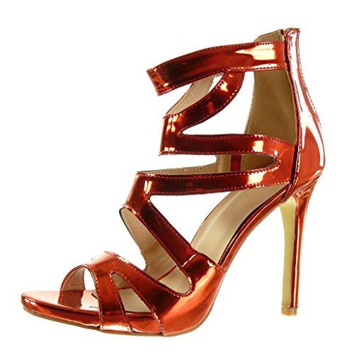 Angkorly - damen Schuhe Sandalen Pumpe - Stiletto - knöchelriemen - Sexy - glänzende Stiletto high heel 11.5 CM - Rot