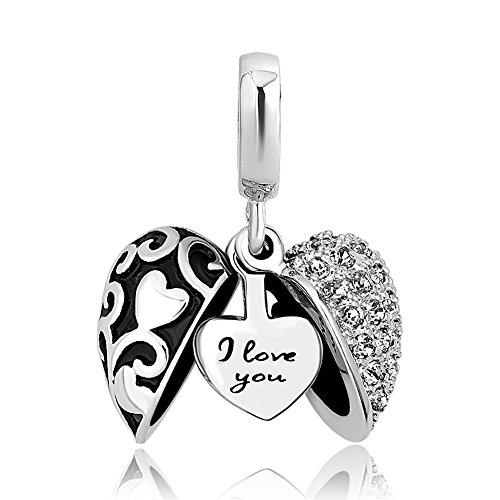 ShinyJewelry I Love You Heart Charm Dangle Bead for European Bracelet Necklace (Heart Charm Bead Bracelet)