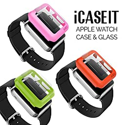 iCASEIT Apple Watch Snap-On Case & Glass 42mm (Pack of 3) Premium Slim & Light Impact & Scratch Protection (Include 3 Screen Protectors) iWatch Cases 42 mm - Green, Orange & Pink