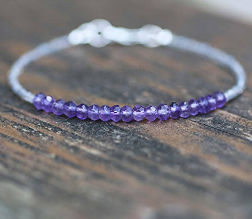 JP_Beads Natural Canadian Labradorite and Amethyst Bangle Bracelet in Solid Sterling Silver, Healing Gems 2mm
