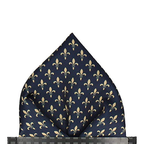- Mrs Bow Tie Fleur de Lis Pre-Folded Pocket Square - Gold
