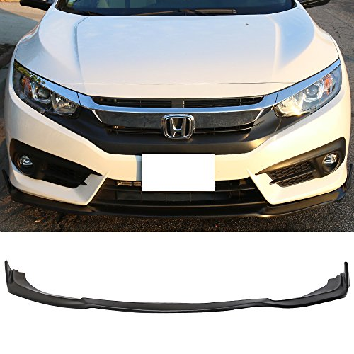 Front Bumper Lip Fits 2016-2018 Honda Civic | CS Style Black PU Front Lip Finisher Under Chin Spoiler Add On by IKON MOTORSPORTS | ()