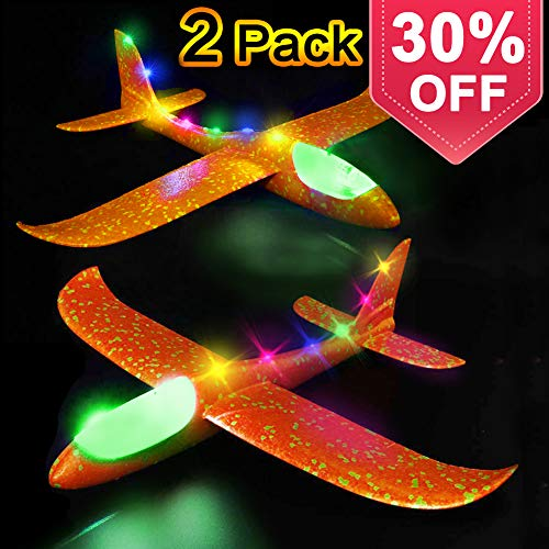 Glider Airplane Model Jet Kit, 2 Pack LED Light Up Glider Airplanes Toys for Kids, Manual Throwing Foam Glider Plane for Boys Girls Outdoor Sport Game Flying Toys Gifts for -