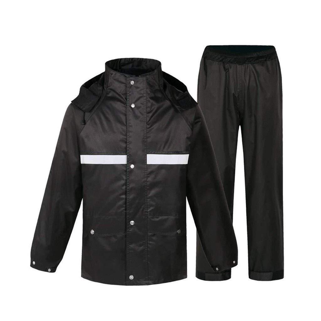 Reflektierende Jacke Radjacke Warnschutzjacke Leicht Und Atmungsaktiv wasserdichte Jacken Reflektierende Kapuzenlaufjacke Wasserdichtes Regenmantel-Set (Farbe : XL)