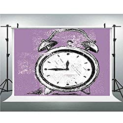 Doodle,Vinyl Backdrop Background for Wall Decor Studio Photography Television Backdrops,10x20ft,Retro Alarm Clock Figure with Grunge Effects Classic Vintage Sleep Graphic
