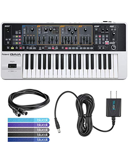 Roland GAIA SH-01 Analog Synthesizer Bundle with Hosa MID-305BK 5-ft MIDI Cable, Blucoil Power Supply Slim AC/DC Adapter for 9V DC 670mA and 5-Pack of Reusable Cable Ties
