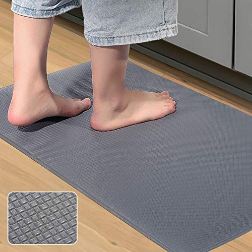 MAPLEZ Kitchen Rug Anti-Fatigue Comfort Mat Non Slip Cushioned Comfort Standing Floor Mat Kitchen Mat for Kitchen, Gaming, Office,Standing Desk 18x30 Inch Grey