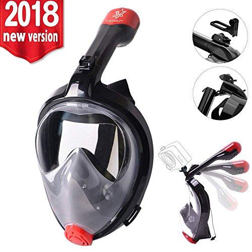 VILISUN Full Face Snorkel Mask, Anti-Fog, Anti-Leak with Adjustable Head Straps, for Adults, Men, Women, Young (V-Black, (Adjustable Stop Male Mount)