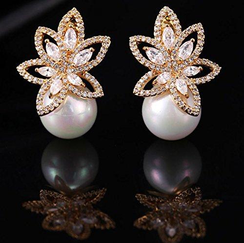 Opal Pearl Stud Earrings or Clip On Dangle Drop Earrings, Charm Jewelry Love Gift For Women Girls by SEKAYISORE (Image #1)