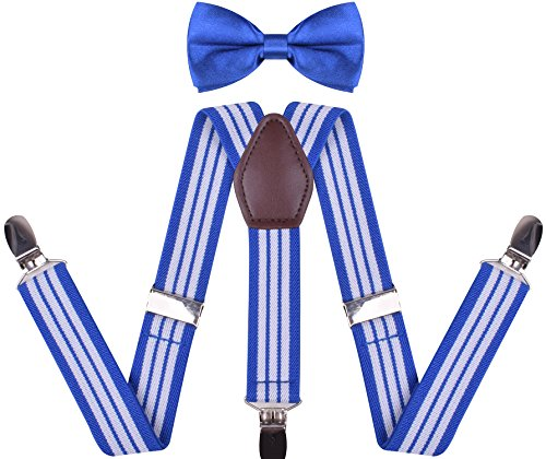 WDSKY Toddler Boys' Bow Tie and Suspenders Set Y Back Adjustable Royal Blue White Stripe 22 Inches