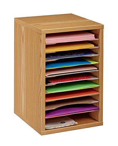 AdirOffice 11-Compartment Wood Vertical Paper Sorter - Literature File Organizer - Medium Oak (Medium Oak Literature Organizer)