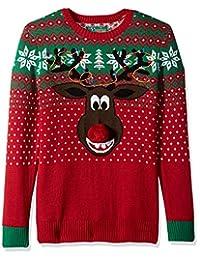 Ugly Christmas Sweater Company suéter Feo de Navidad para Hombre con diseño de caniche 2, Cayena, Medium