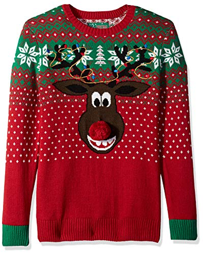 Ugly Christmas Sweater Company Men's Assorted Animals and Reindeer Crew Neck Xmas Sweaters, Cayenne Poopermints 2, Small (Christmas Sweater Rudolph)