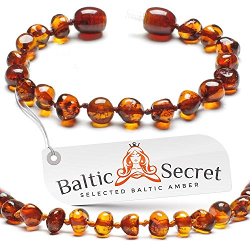 Bead Baby Bracelet - Amber Teething Bracelet for Baby Girl or Boy, Amber Teething Anklet for Babies Kids Toddler, Certified Baltic Amber Teething Beads, Natural Baby Teething Relief by Baltic Secret/CGN.P-BRQ 5.3 inch