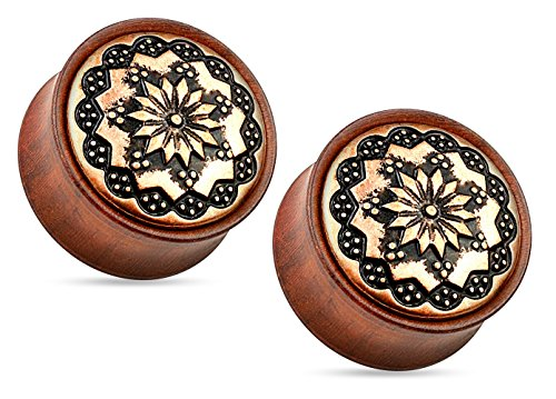 (Floral Tribal Pattern Organic Rose Wood Double Flared Plug Earrings - Sold As Pair (22mm (7/8