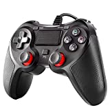 Cypin PS4 Wired Controller for Playstation 4, Dual Vibration USB Wired PS4 Gamepad Joystick for Playstation 4/PS4 Slim/PS4 Pro PC Playstation 3, Cable Length 6.5ft, red Black