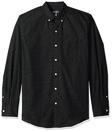 Shirt Wrinkle Van Free Heusen (Van Heusen Men's Wrinkle Free Poplin Long Sleeve Button Down Shirt, Black, Large)
