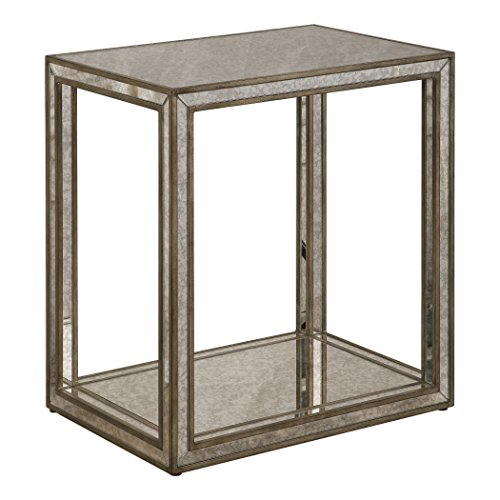MY SWANKY HOME Luxe Mirrored Glass Outline End Table | Minimalist Mid Century Modern Side Gold