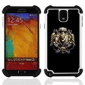 BullDog Case - FOR/Samsung Galaxy Note3 N9000 N9008V N9009 / - / Tribal Warrior Crest /- H??brido Heavy Duty caja del tel??fono protector din??mico - silicona suave