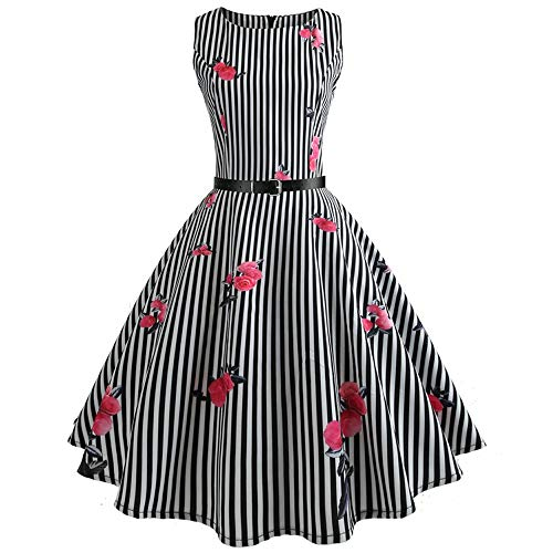 (Sevem-D Summer Womens Dresses Floral Retro 50S 60S Robe Rockabilly Swing Pinup Vestidos Party Dress,A18,L)