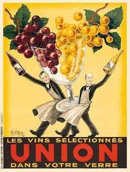Vintage Poster Reproduction QuotUnion Wine Waitersquot
