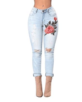 Anyu Mujer Bordado Vaqueros Flacos Mezclilla Pantalones Jeans Leggings Moda Pantalones