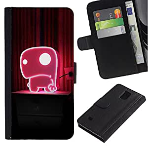 ZONECELL Imagen Frontal Negro Cuero Tarjeta Ranura Trasera Funda Carcasa Diseño Tapa Cover Skin Protectora Case Para Samsung Galaxy Note 4 SM-N910 - linda rosa
