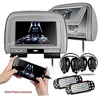 XTRONS Grey 29 HD Digital Widescreen Twin Car Headrest DVD Player 1080P Video with HDMI Input IR transmitter and FM Transmitter&IR Headphones Included