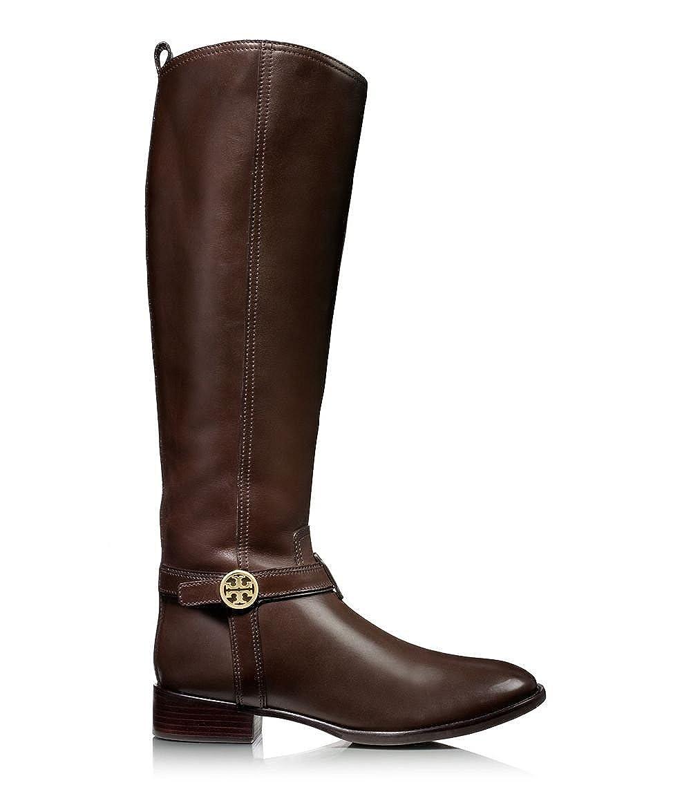 ad9913dda4c Amazon.com   Tory Burch Bristol Leather Logo Riding Knee High Boots (7.5,  Brown)   Knee-High