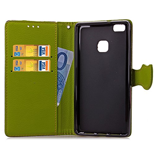 Funda Piel con Tapa para Huawei P9 Lite,Flip Fina Case de Cuero Billetera para Huawei P9 Lite, TOCASO Personalizada Completa Wallet Ultra Slim Cartera Carcasa Sólido Colored Flor Cover, Magnet Hoja de Marron
