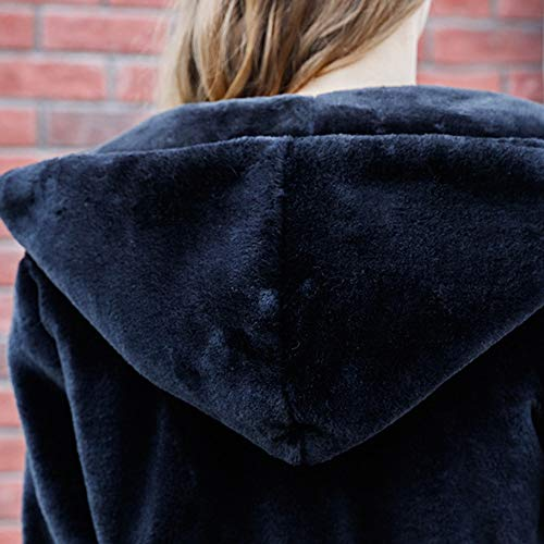 Noir Fourrure Encoche JERFER Femmes Hiver Manteau Col Automne Couleur Casual Outwear Hiver Fausse Solide Mode Chaud Wa0x7SZq0w