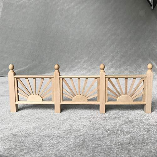 NATFUR Unpainted Mini Wood Rail Fence Barrier for 1/12 Dollhouse Room Fairy Garden