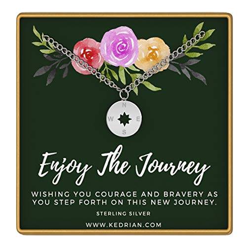 KEDRIAN Compass Necklace, 925 Sterling Silver Enjoy The Journey Necklace, Graduation Gifts for Her, Going Away Gifts, Graduation Gifts, Best Gifts for Travelers, Compass Necklaces for Women