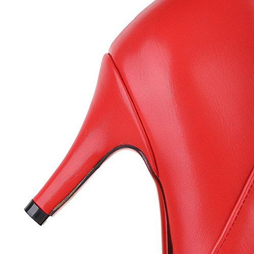 AgooLar Women's High-Heels Solid Pointed Closed Toe Soft Material Zipper Boots Red jUzrjKP