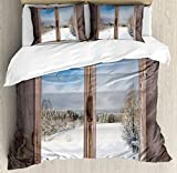 Rustic King Size Duvet Cover Set by Ambesonne, Winter Season Scene from a Wooden Window of Country House Snow Vintage Design, Decorative 3 Piece Bedding Set with 2 Pillow Shams, Umber White Blue