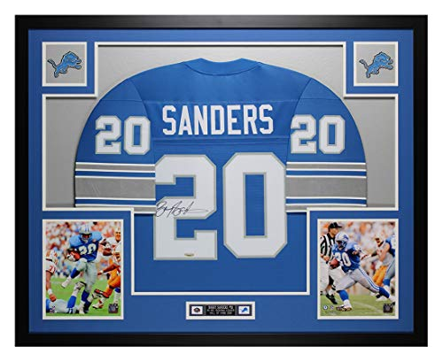 Barry Sanders Autographed Blue Detroit Lions Jersey - Beautifully Matted and Framed - Hand Signed By Barry Sanders and Certified Authentic by Tristar - Includes Certificate of Authenticity ()