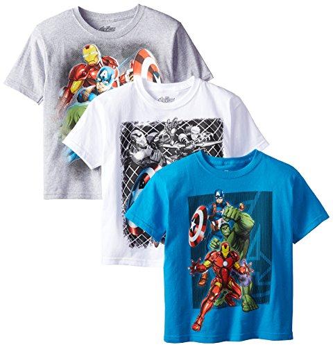 Marvel Boys' 3-Pack T-Shirt, Light Blue/Gray/White, 8