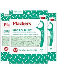 Plackers Micro Mint Dental Floss Picks, 90 Count (Pack of 3)