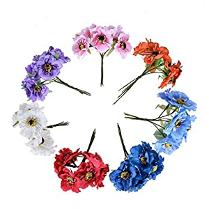 Heads Orchid 6Pcs 3.5Cm Mini Silk Cherry Artificial Poppy Bouquet DIY Handmade Tattoo Wreath Scrapbook Decoration Craft Fake Flower 53