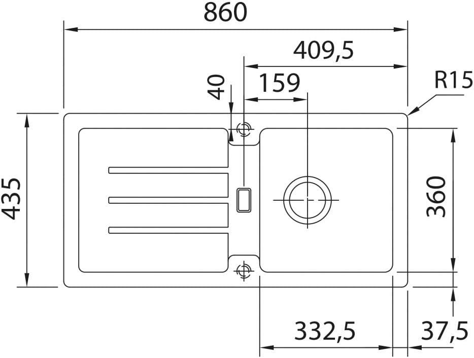 1140197796 graphite Franke /évier encastrable Strata STG 614 Fragranit DuraKleenPlus cuve r/éversible